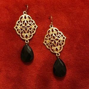 Jewelry - Gold and black filigree dangle earrings